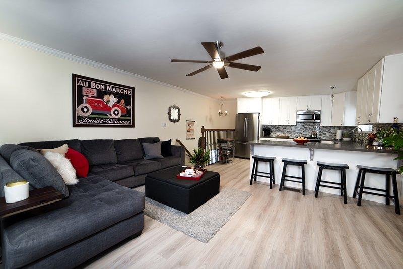 Open floor plan kitchen and entertainment area