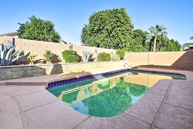 Take a dip in this vacation rental home's private pool, ranging from 3 - 5 feet!