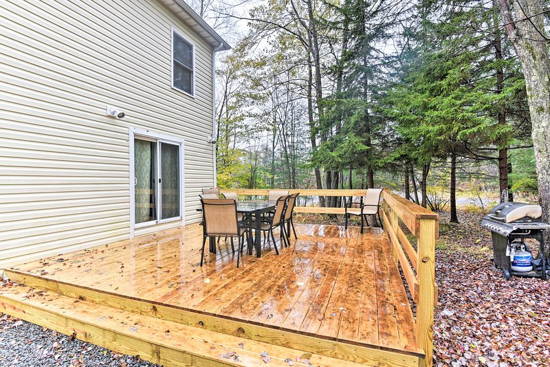 Grill out on the deck of this 3-bedroom, 1.5-bathroom home.