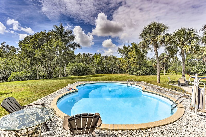 Plan your next Florida getaway at this stunning North Fort Myers home.