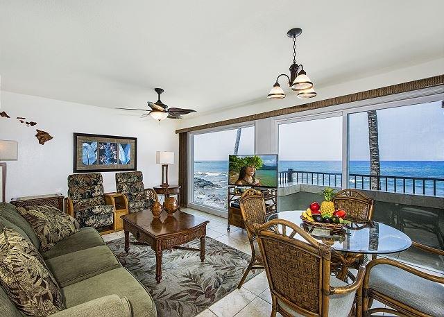 Comfortable living room with outstanding ocean views!