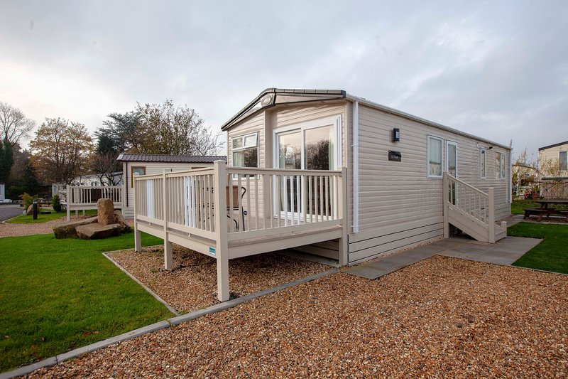 Luxury Caravan with lovely decking area.