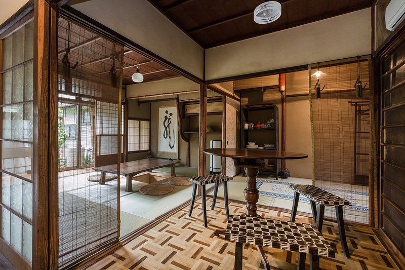 This traditional Japanese style house is built in 1924 and is officially certificated as Kyo-Machiya