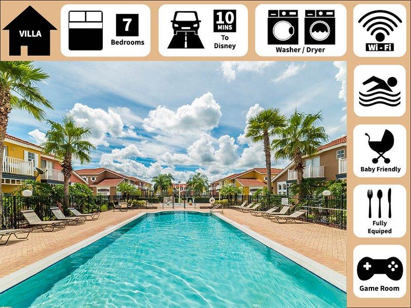 Your Happy Place✦Fascinating Resort+Pool & Hot Tub+Location near Disney, aluguéis de temporada em Intercession City