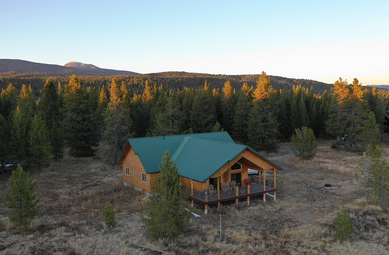 Aerial view of Bear Hollow Cabin.
