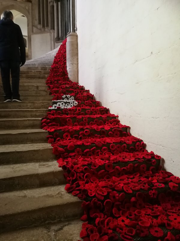 Poppy display: steps to Chapter House, Wells cathedral
