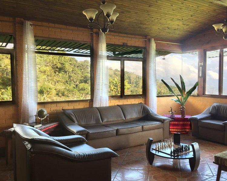 Esta es la sala de estar con vista al bosque primario.