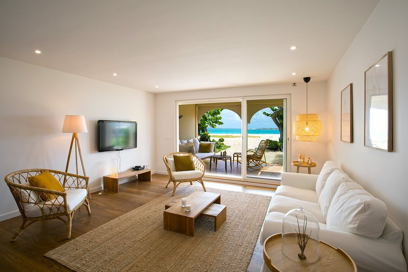 Large living room with sea view