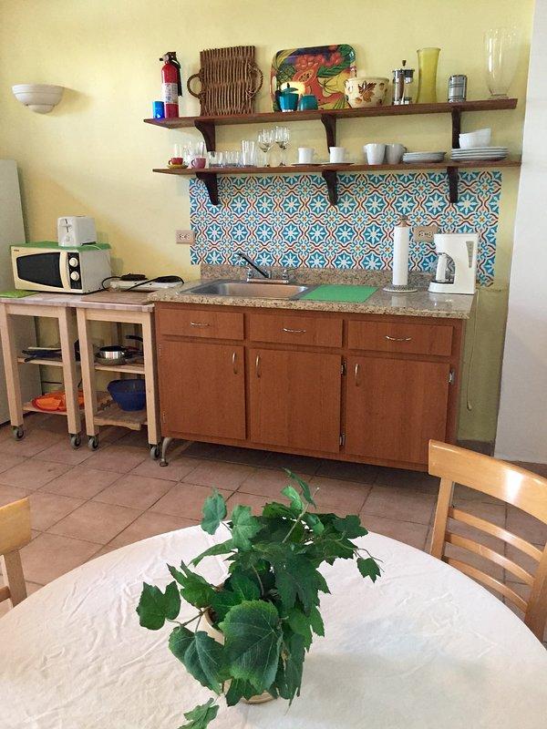 A cozinha tem micro-ondas, torradeira, cafeteira e fogão de duas bocas.