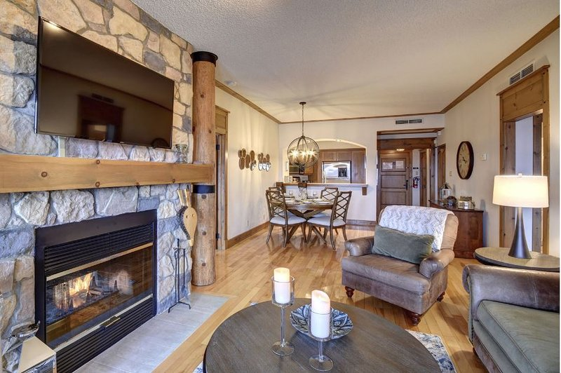 Living Area Features a Lovely Stone Fireplace