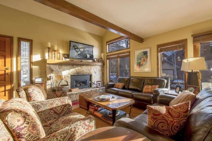 Salon avec 2 canapés en cuir, cheminée à gaz en pierre, câble HDTV
