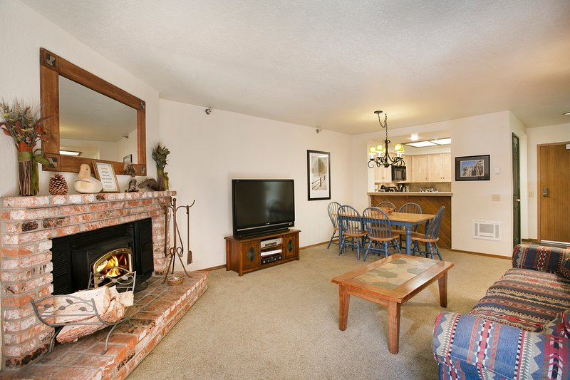 Wood Burning Fireplace with LCD TV in Living Area