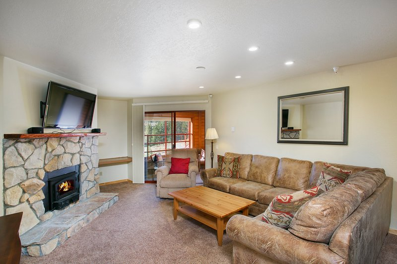 Living Area with Wood Burning Fireplace and LCD TV