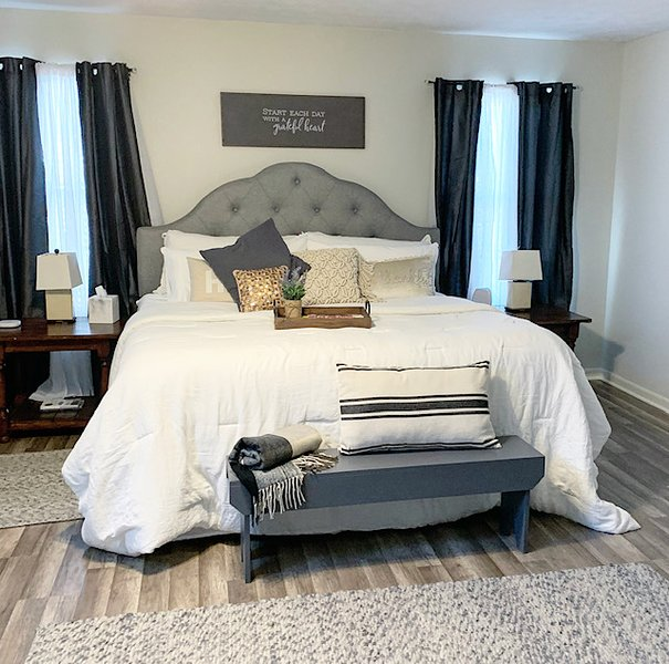Lux bedding and large master closet.