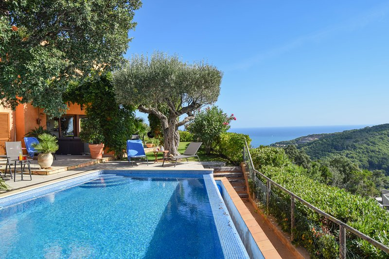Villa with sea and montains views, infinity pool and garden.6 people.SA RIERA, holiday rental in Begur