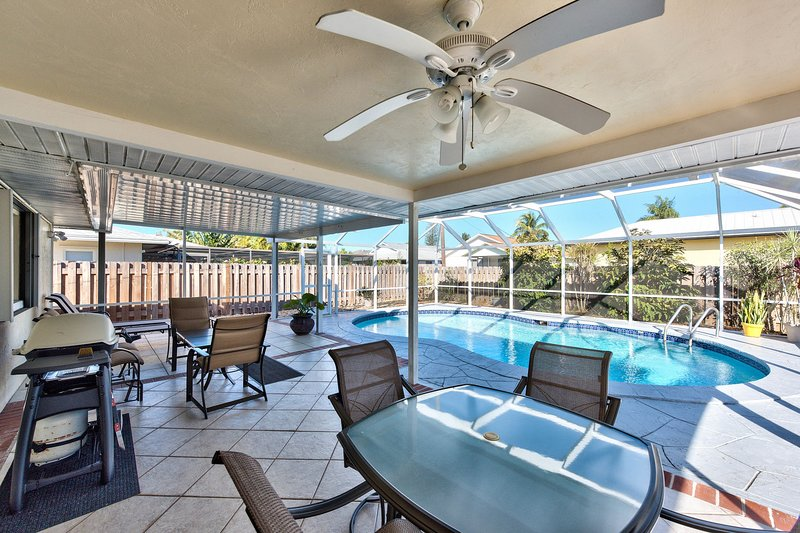 Private Pool with Lounging and Ample Seating (Pool Heat Optional Add On at Booking); Fan; Privacy Fence; Private Grill!