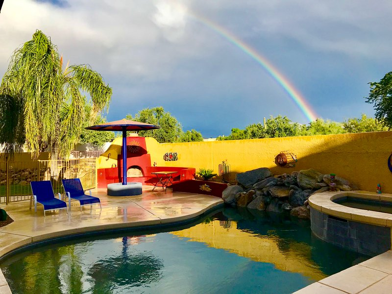 Somewhere under the rainbow resides Windfeather Oasis where  you discover your own private paradise