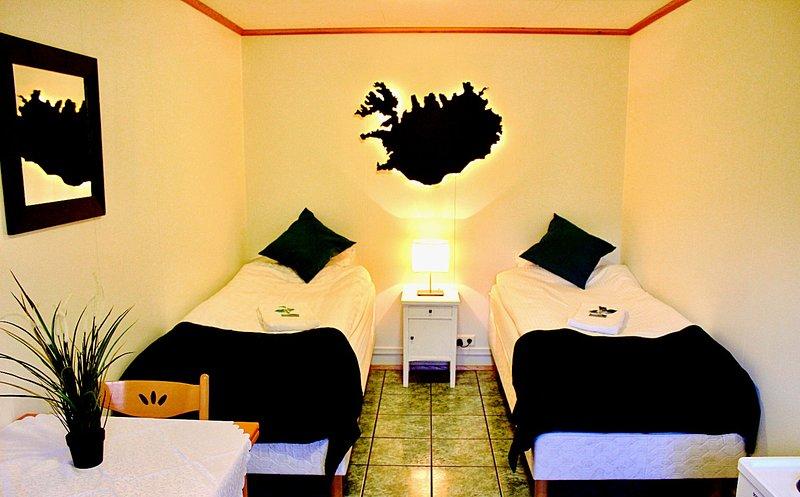 """Sala """"islandia"""". Habitación con 2 camas individuales, zona de cocina, horno, mesa, sillas y cafetera."""