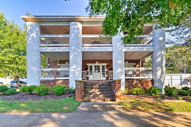 This apartment is located within a charming, multi-unit brick building.