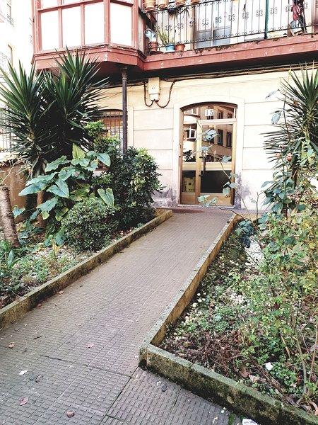 Garden entrance to the building.