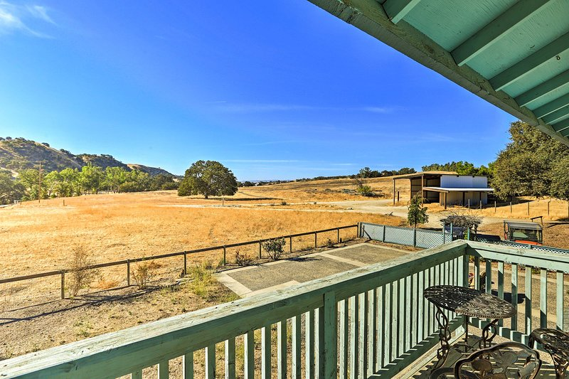 Enjoy views of the rolling hills, surrounding farms and wine country.