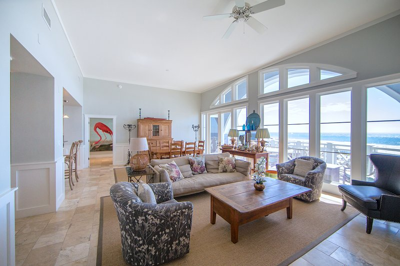 You will enjoy relaxing gulf views in theLiving/Dining room