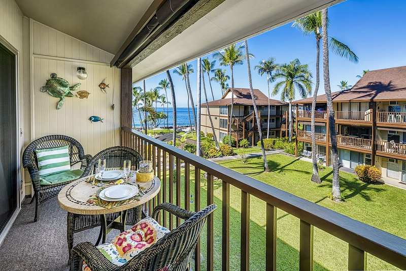 Enjoy dining on your lanai with an ocean view