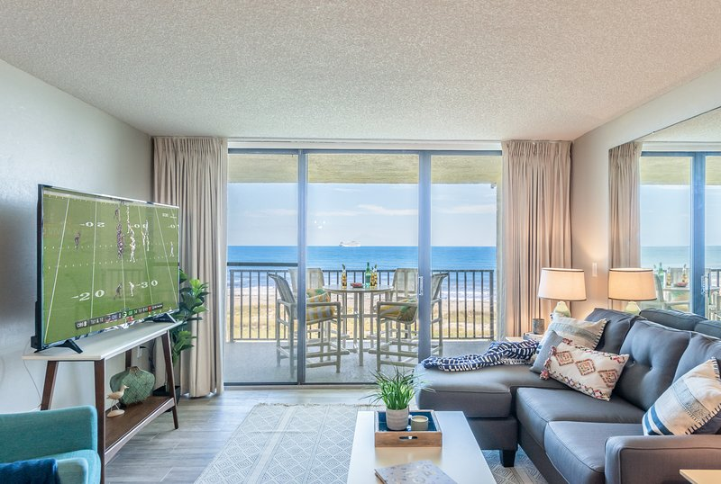 Direct oceanfront view! Read a book or log into your Netflix account with the 65' Smart TV