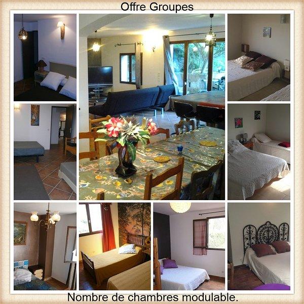 Offre groupe 9 chambres + 5 SDB, 23 personnes. Billard et jardin privé. village, vacation rental in Speloncato