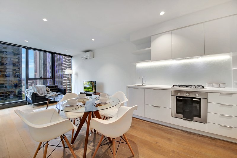 A fully decked kitchen & dining