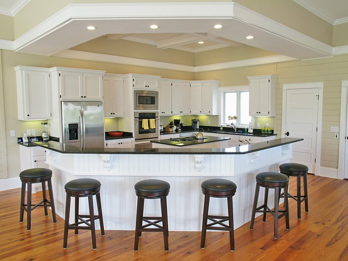 Kitchen With Bar Stools For Extra Seating