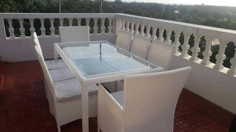 Seating on roof terrace.