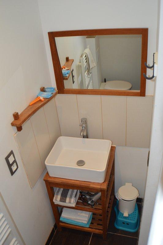 Salle d'eau WC attenante à la chambre bleue à l'étage