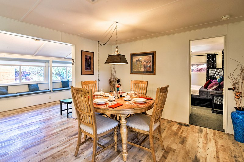 Gather around the lovely 4-person dining table for family feasts.