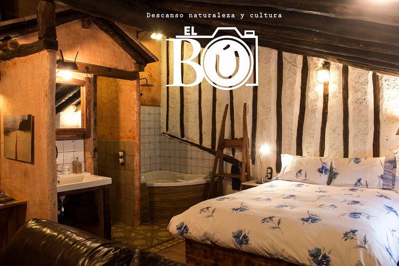 El Bú. Bed and Breakfast. Preciosa suite en el Alto Tajo, alquiler vacacional en Fuertescusa