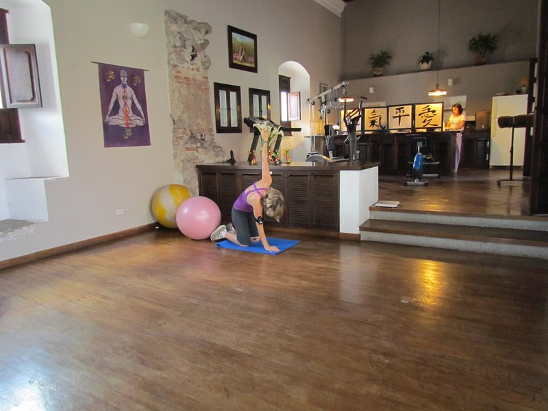 fitness center and studio use is free for guests, located in spa next door.