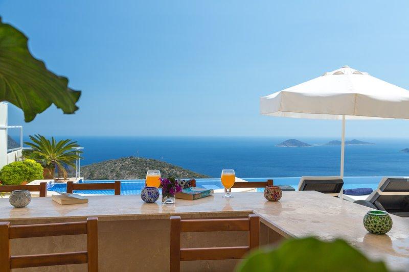 La villa tiene unas vistas impresionantes al mar.