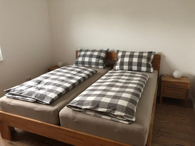 The bedroom with a large wardrobe. Sheets available.