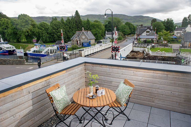 This room boasts an outside terrace with amazing views over the Fort Augustus and the River Oich