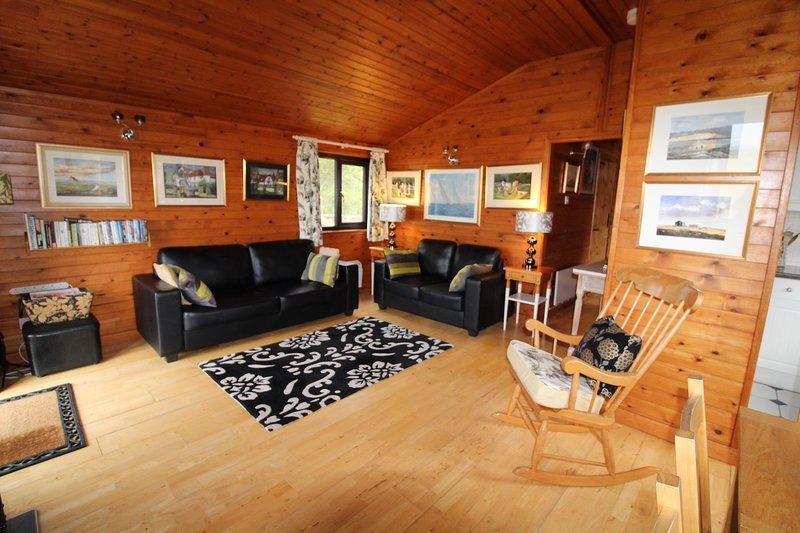 Living Area with vaulted ceiling