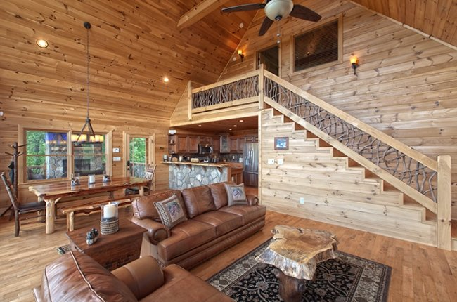 Gorgeous All-Wood Interior and Hand-Crafted Railing