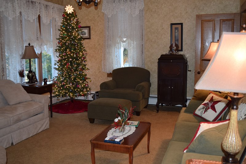 Parlor decorated at Christmas