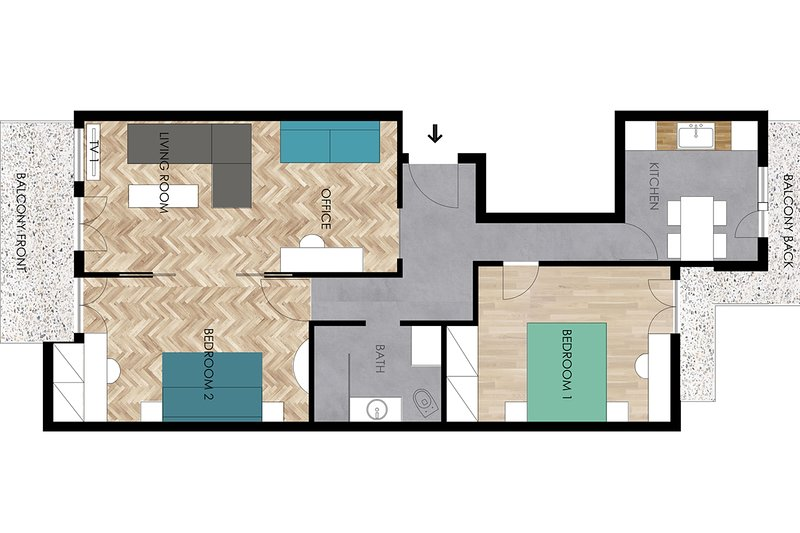 apartment plan 80m²