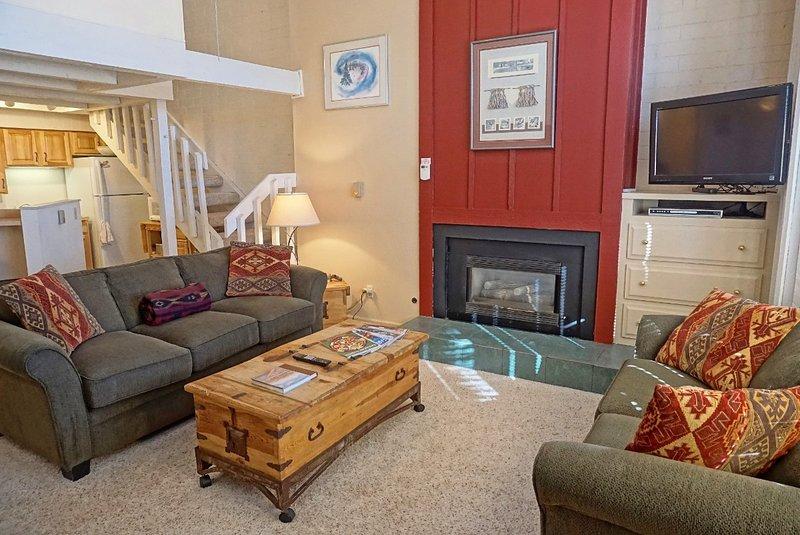 Salon confortable et spacieux avec des plafonds de 20 pieds