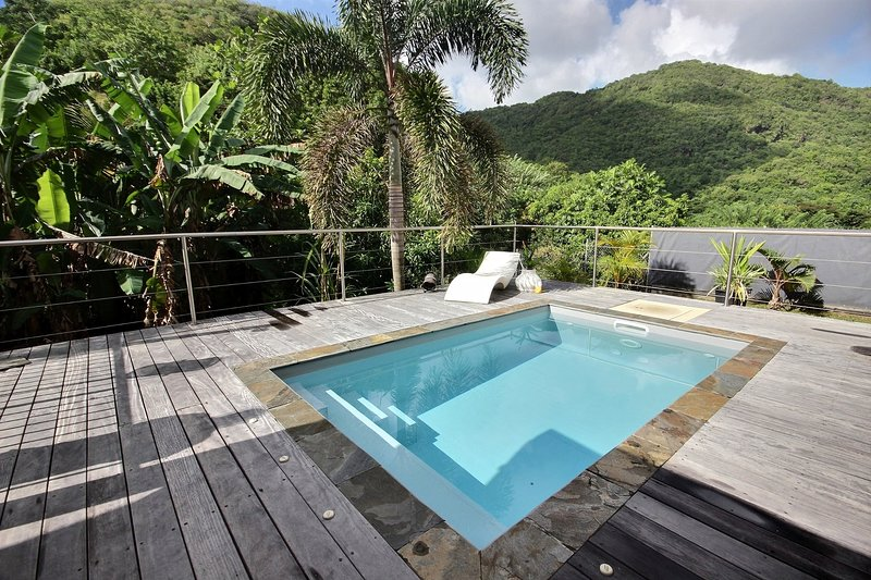 Swimming pool nestled in nature at Marin, Martinique