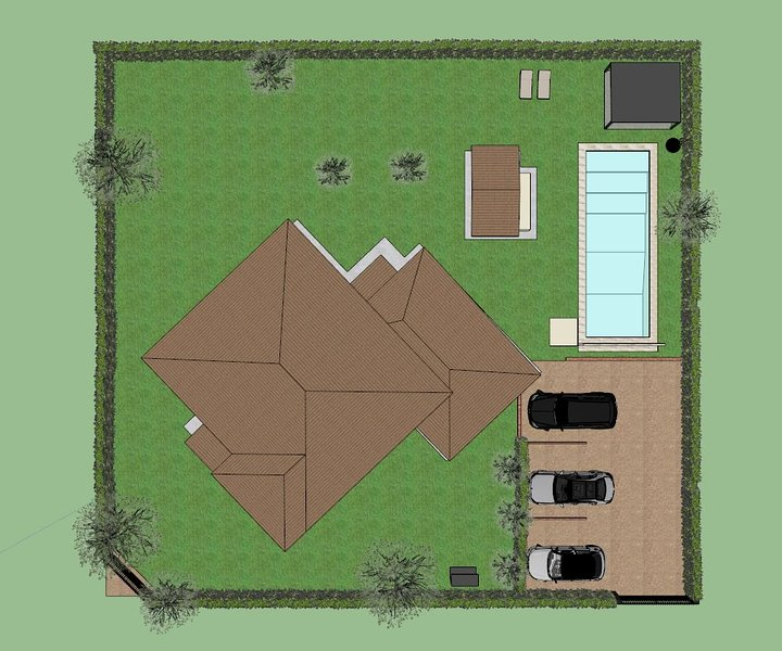 Rendering of the villa with swimming pool from above