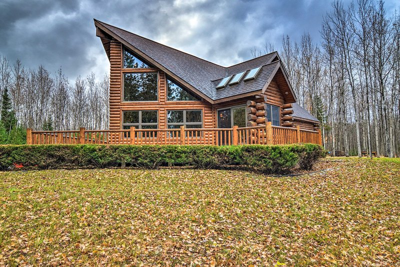 The cabin features 2 bedrooms and 1.5 bathrooms steps from a Lake Huron beach.