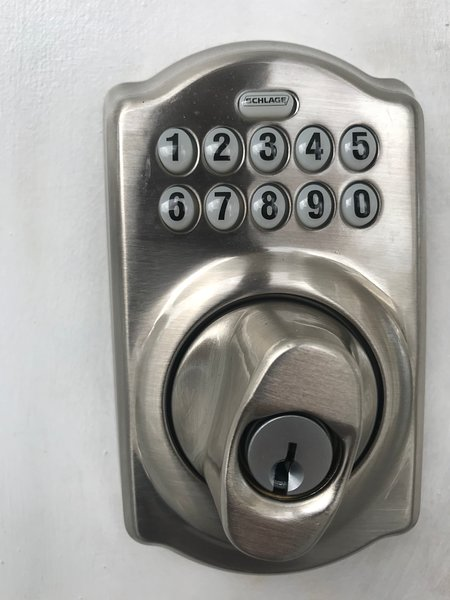 Keypad lock used for easy self checkin.