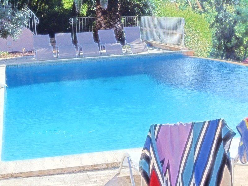 Grande piscine 5mx15m purification au sel marin, alarme, éclairage nocturne du bassin