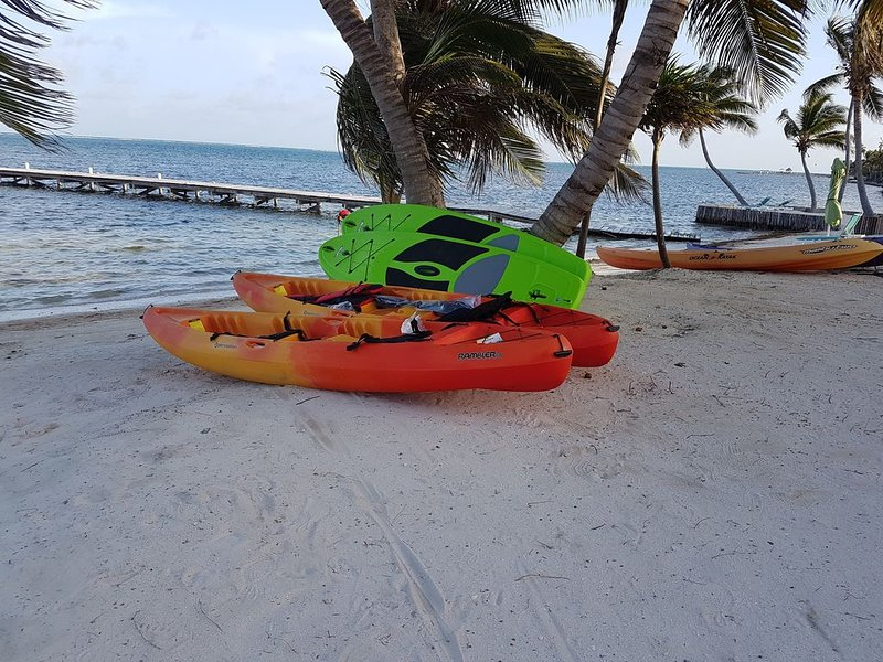 Complementary kayaks, paddle boards, bicycles, snorkel and fishing gear.